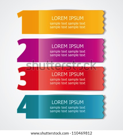 Vector set of colored ribbons for different sample options - stock vector