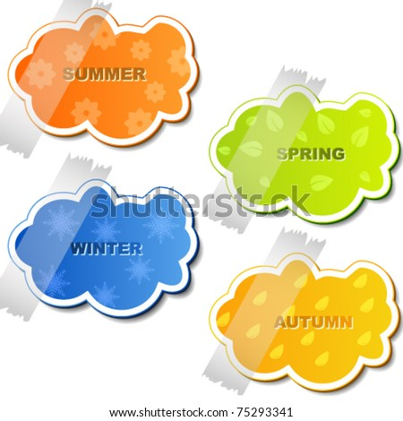 Vector set of colored stickers - stock vector