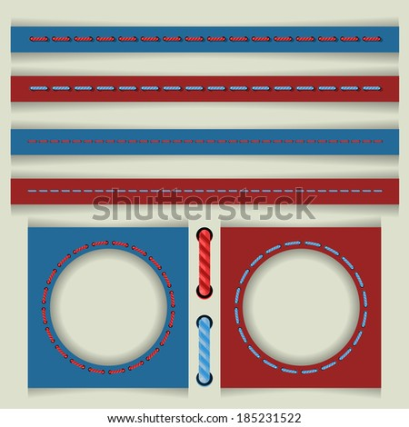 vector set of colored stitches - stock vector