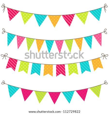 Vector set of colorful and bright bunting - stock vector