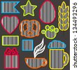 Vector set of colorful barcodes in different shapes, can be useb like stickers, stamps, decoration - stock vector