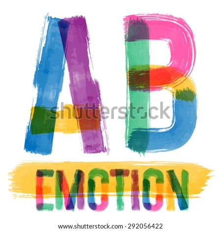 Vector set of colorful brush font. Hand-drawn brush alphabet. Letters A B - stock vector