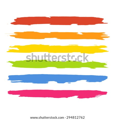 Vector set of colorful brush strokes. Colorful vector brush strokes collection. Colorful paint spots vector set.  - stock vector