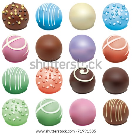 vector set of colorful candies - stock vector