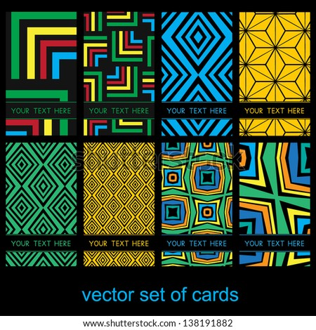 Vector set of colorful cards (flyers, banners, labels). - stock vector