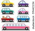 vector set of colorful cars - stock vector