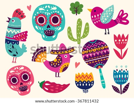 Vector set of colorful cartoon objects and icons about Mexico. Illustration with symbols of Mexico - stock vector