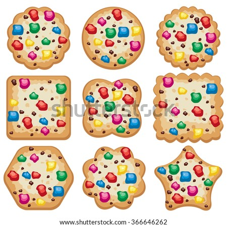 vector set of colorful chocolate chip cookies of different shapes - stock vector