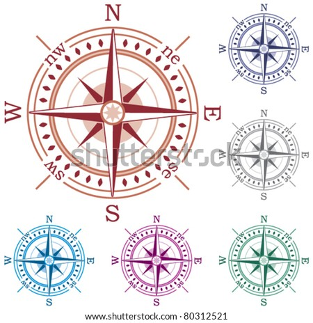vector set of colorful compasses - stock vector
