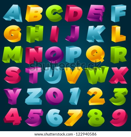 Vector set of colorful 3D alphabet and numbers