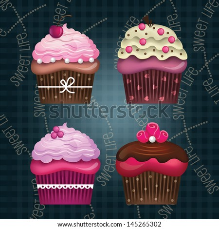 Vector set of colorful delicious cupcakes with beautiful decorations - stock vector