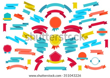vector set of colorful empty retro ribbons and badges isolated - stock vector