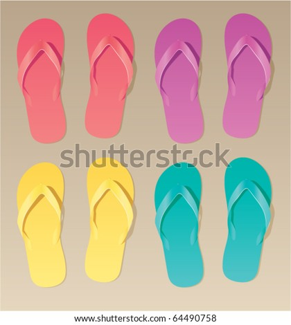 vector set of colorful flip flops - stock vector