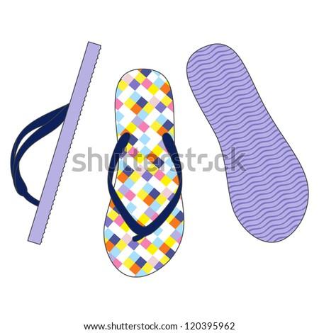Vector set of colorful flip flops illustration - stock vector