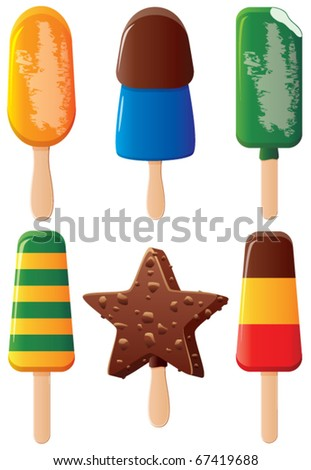 vector set of colorful fruit and chocolate popsicles - stock vector