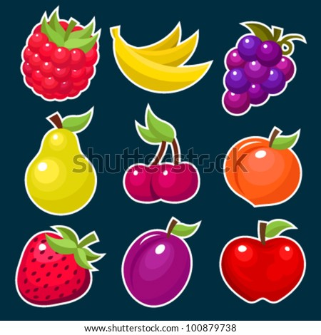 Vector set of colorful fruit icons.