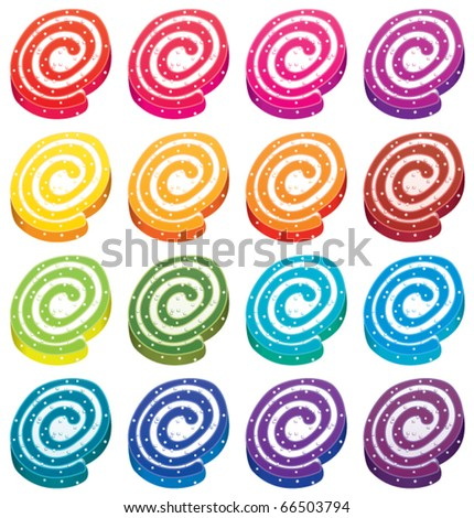 vector set of colorful fruit jellies - stock vector