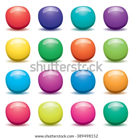 vector set of colorful fruit jellies on white background - stock vector