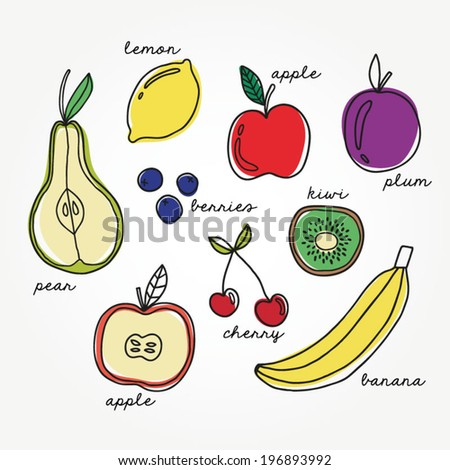 Vector set of colorful fruits doodle. Healthy food abstract background. Pear, lemon, banana, cherry, berries, apple, kiwi icons isolated on white. Hand drawn illustration - stock vector
