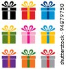 vector set of colorful gift box symbols - stock photo
