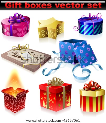 Vector set of colorful gift boxes with ribbons and bows isolated on white background. - stock vector