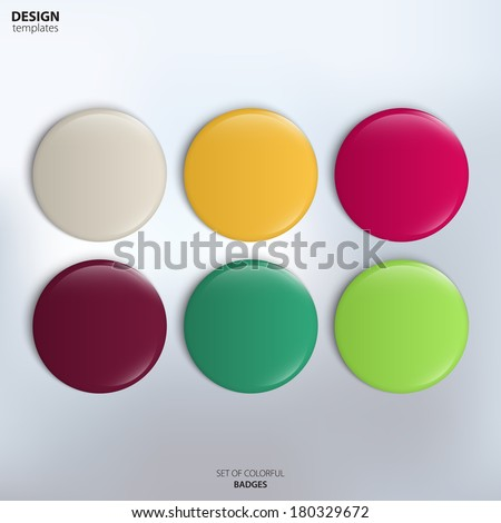 Vector set of colorful glossy badges. - stock vector