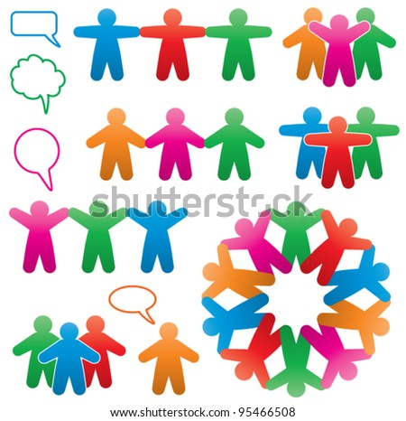 vector set of colorful human and speech symbols - stock vector