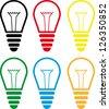 Vector set of colorful light bulbs - stock vector