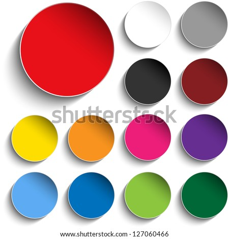 Vector - Set of Colorful Paper Circle Sticker Buttons