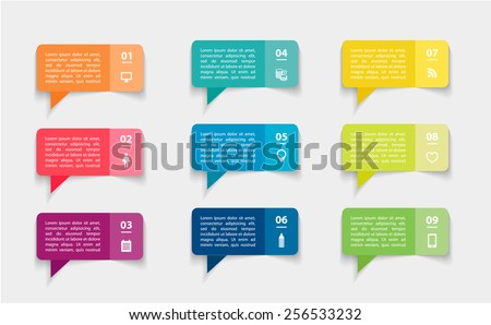 vector set of colorful paper stickers, bubbles, steps infographic with icons - stock vector