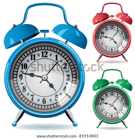 vector set of colorful retro alarm clocks