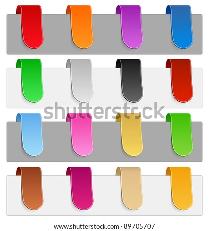 Vector set of colorful ribbons, transparent shadow - stock vector
