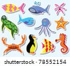 vector set of colorful sea animals - stock vector