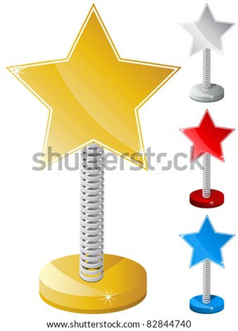 Vector - Set of Colorful Star Shaped Text Box on Metal Spring - stock vector