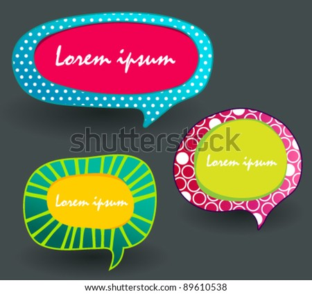 Vector set of colorful text bubbles illustrations - stock vector