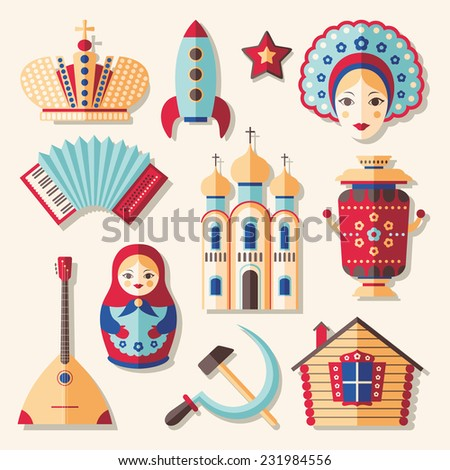 Vector set of colorful traditional culture russian icons in flat style - stock vector