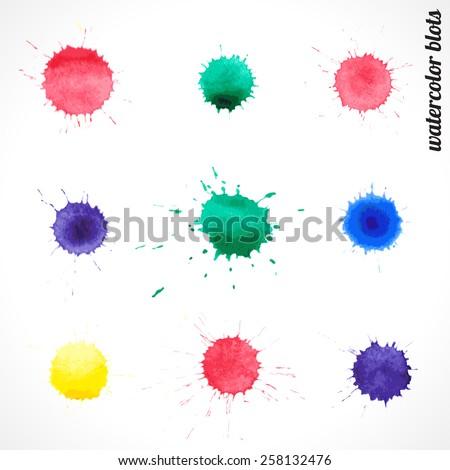 vector set of colorful watercolor blots - stock vector