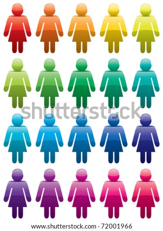 vector set of colorful woman symbols - stock vector