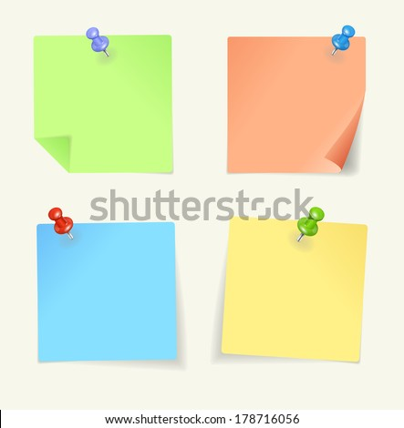 Vector set of colour sticky Notes with pin