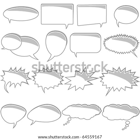 Vector set of comic book text bubbles - stock vector