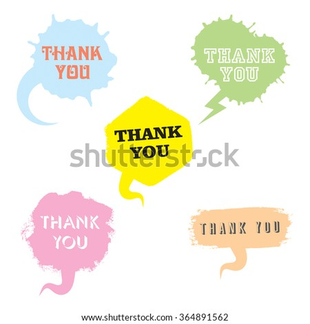 Vector set of comic speech bubbles in trendy flat style. Hand drawn collection of speech balloons with phrase Thank you. Textured paint brush and stroke used. - stock vector