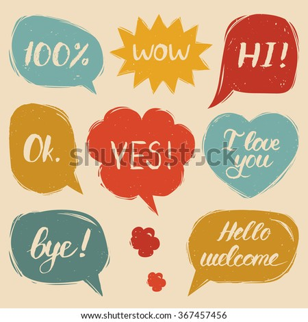 Vector set of comic speech bubbles in trendy flat style. Hand drawn colorful illustrations of speech balloons with phrases Hi, Hello, I love you, Yes, Wow, Bye, Welcome, 100%, Ok. - stock vector