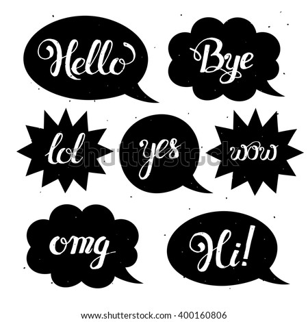 Vector set of comic speech bubbles in trendy flat style. Hand drawn set of speech bubbles with phrases Hi, Hello, Thank you, Yes, Wow, Bye.Cute Internet Slang Wording Vector Design Illustration - stock vector