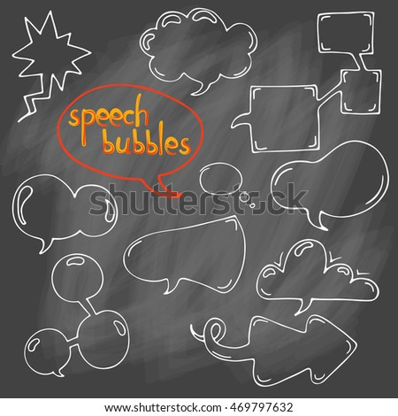 Vector set of comic speech bubbles. Isolated. outline. hand drawn. Collection of cartoon speech and thought communication bubbles. doodle. Blank empty speech bubbles.  On chalk background