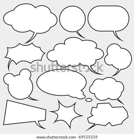 vector set of comics style speech bubbles - stock vector