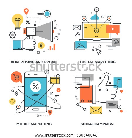 Vector set of conceptual flat line illustrations on following themes - social campaign, digital marketing, mobile marketing, advertising and promo - stock vector