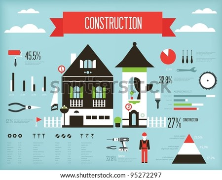Vector set of construction infograpic containing various icons of tools and houses - stock vector