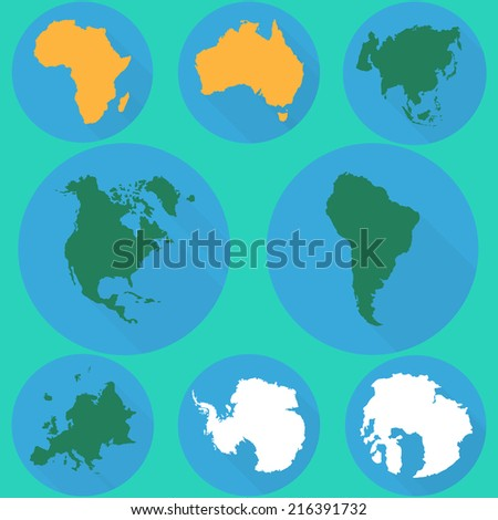 Vector set of continent icons. Map of South America. - stock vector