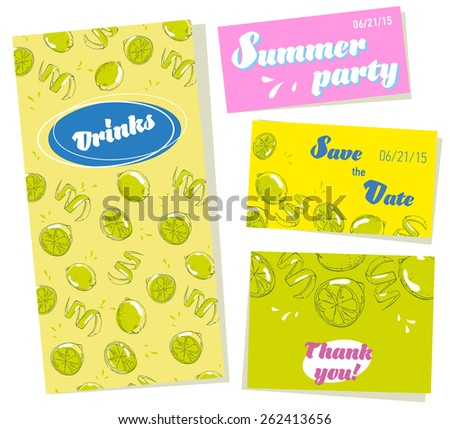Vector set of cool design for your summer event. Invitation, save the date, thank you, menu and all what you want for editing. Easy to use. Decorate your party! - stock vector