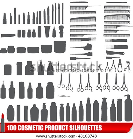 Vector set of 100 cosmetic product silhouettes - stock vector